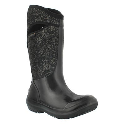 Bogs Women's PLIMS QUILTED FLORAL blk waterproof boots