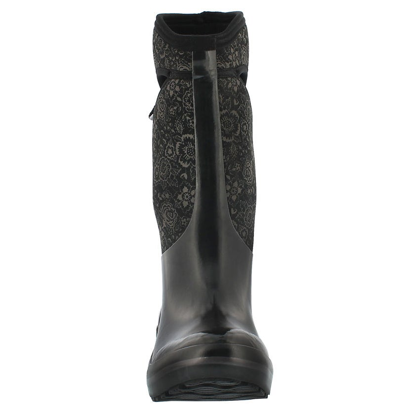 Lds Plims Quilted Floral blk wtpf boot