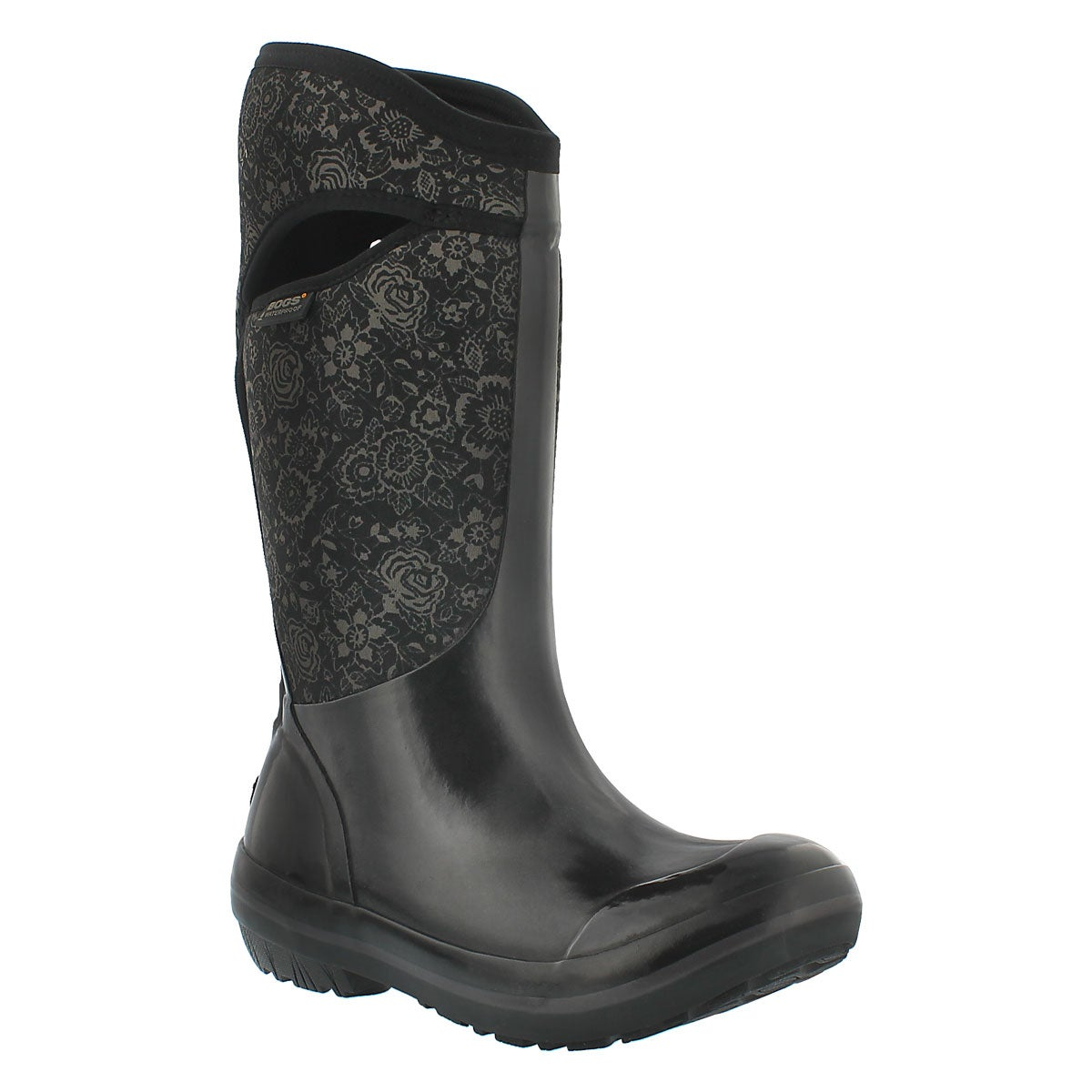 Women's PLIMS QUILTED FLORAL blk waterproof boots