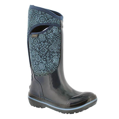 Bogs Women's PLIMS QUILTED FLORAL blue waterproof boots