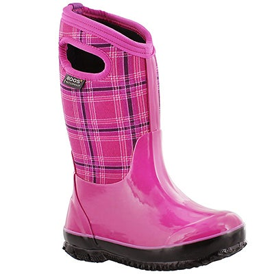 Bogs Girls' WINTER PLAID pink waterproof winter boots