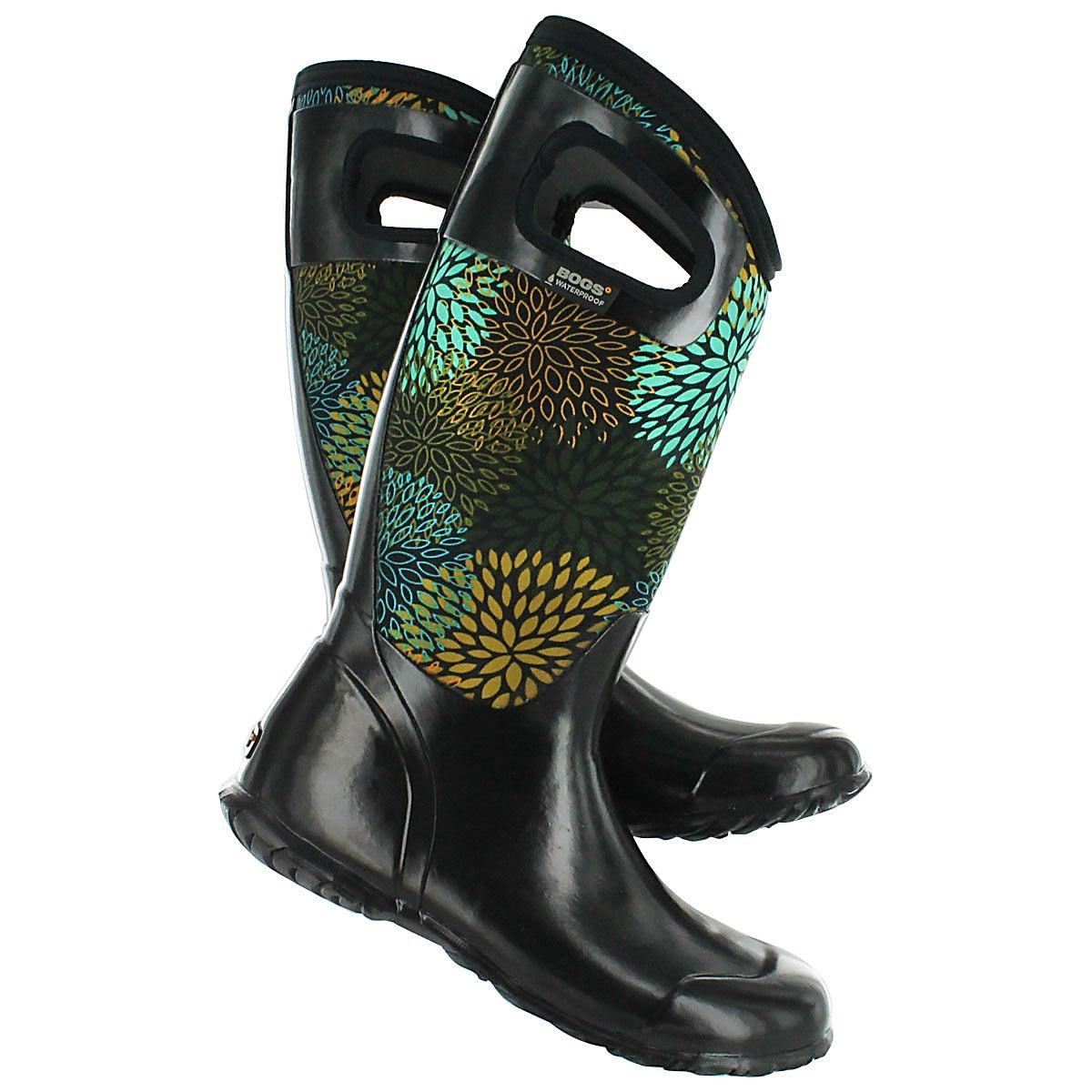Lds North Hampton Floral blk wtrprf boot