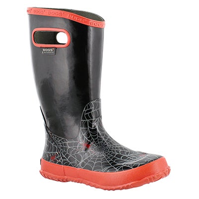 Bogs Boys' RAINBOOT SPIDERS black rain boots