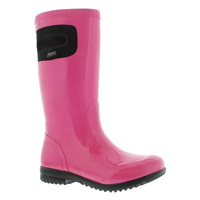 Bogs Girls' TACOMA SOLID pink rain boots