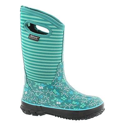 Bogs Girls' FLOWER STRIPES mint waterproof boots