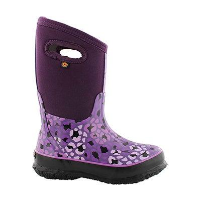 Grls Classic leopard purple wtpf boot