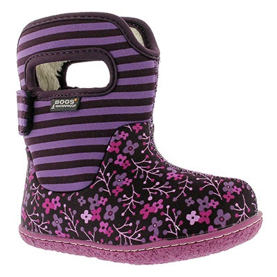 Bogs Infants' CLASSIC FLOWER STRIPE plum winter boots