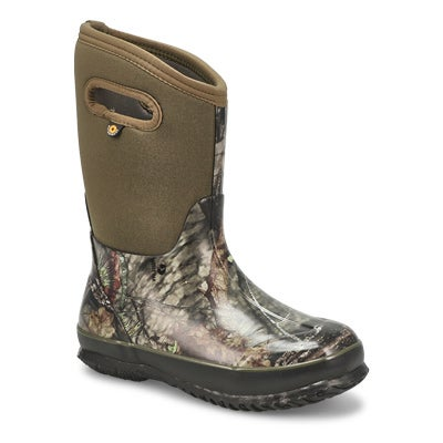 Bogs Boys' CLASSIC MOSSY OAK tall green winter boots