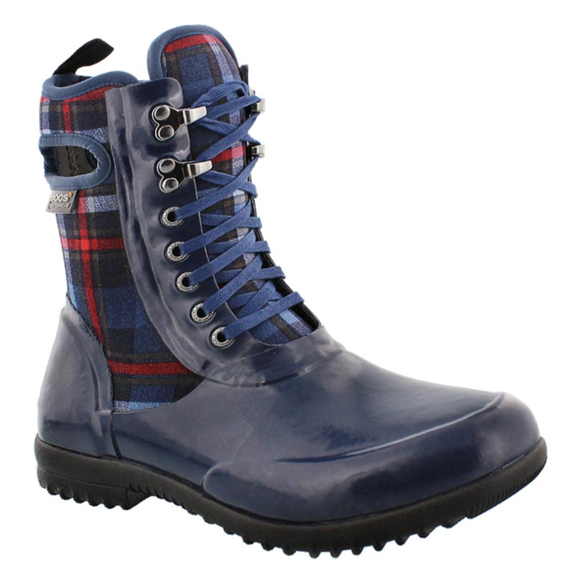 Lds Sidney Lace Plaid dk blue wtpf boot
