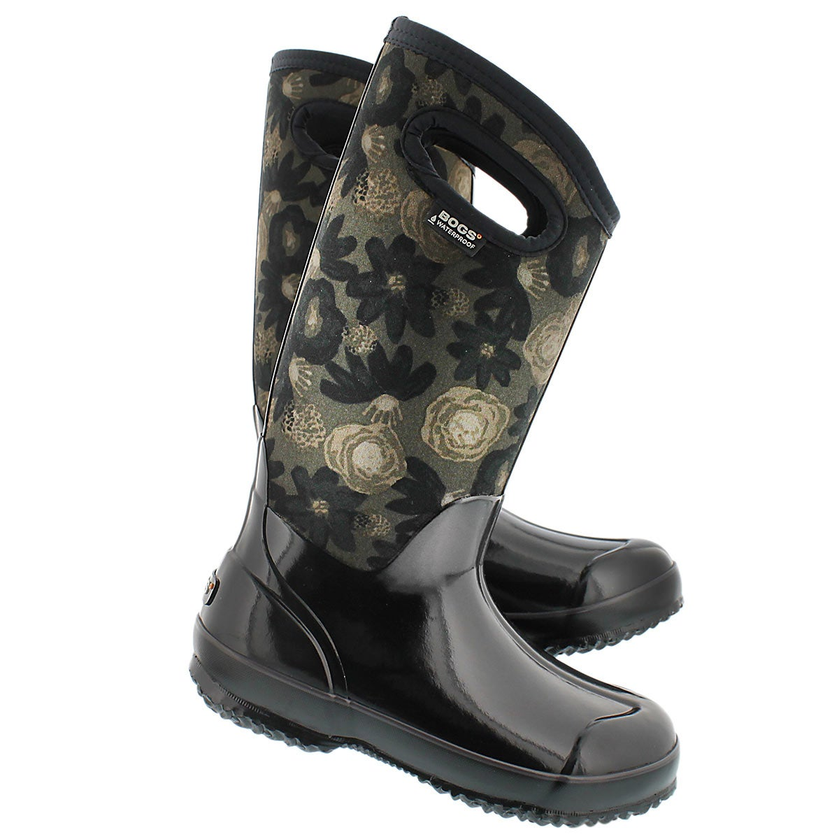 Lds Watercolor Tall blk multi wtpf boot