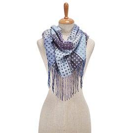 Lds Dotted Blocks Fringe denim scarf