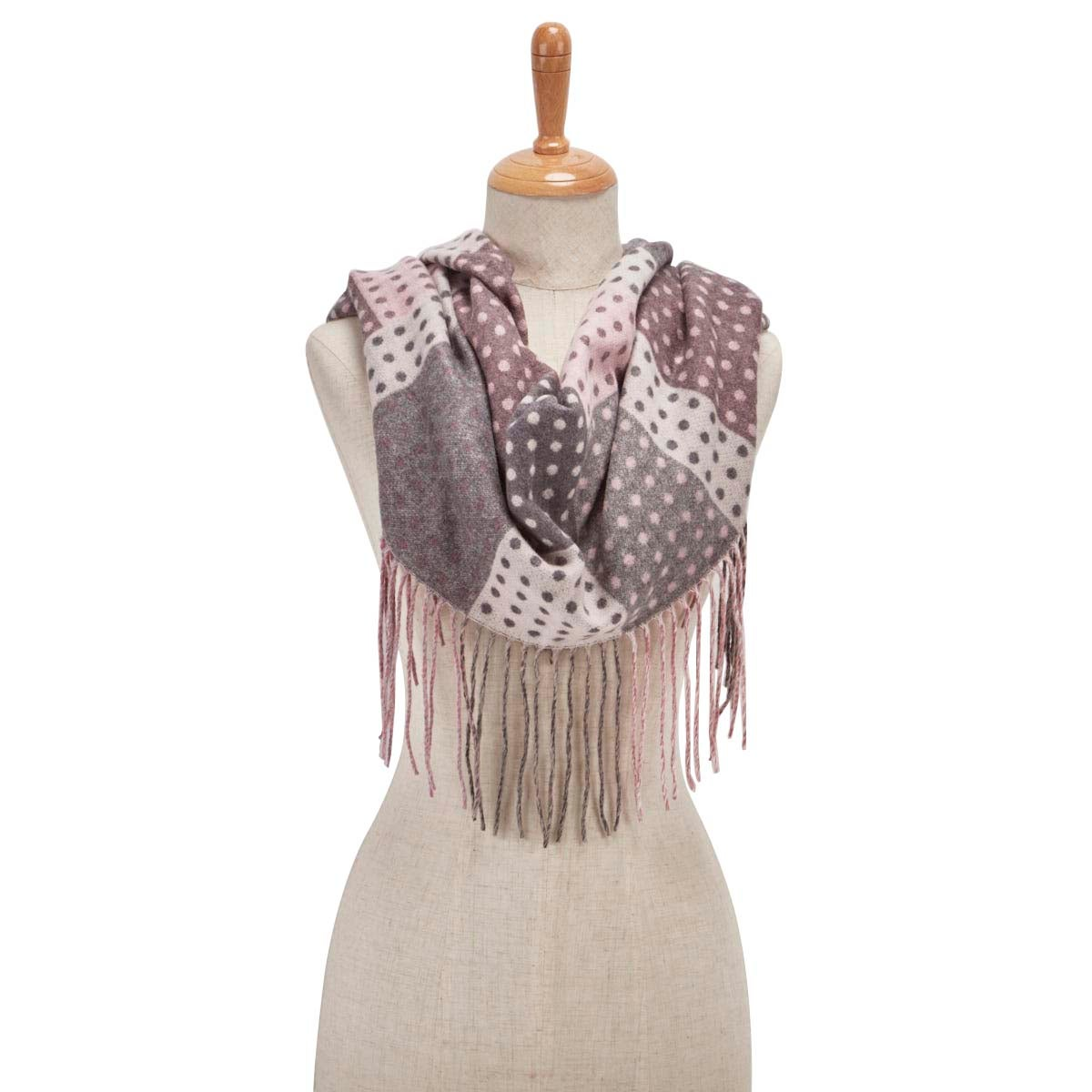 Lds Dotted Blocks Fringe light gry scarf