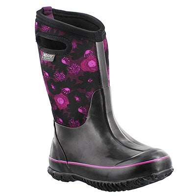 Bogs Girls' CLASSIC WATERCOLOR black waterproof boots