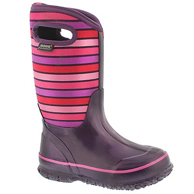 Bogs Girls' CLASSIC STRIPES purple waterproof boots
