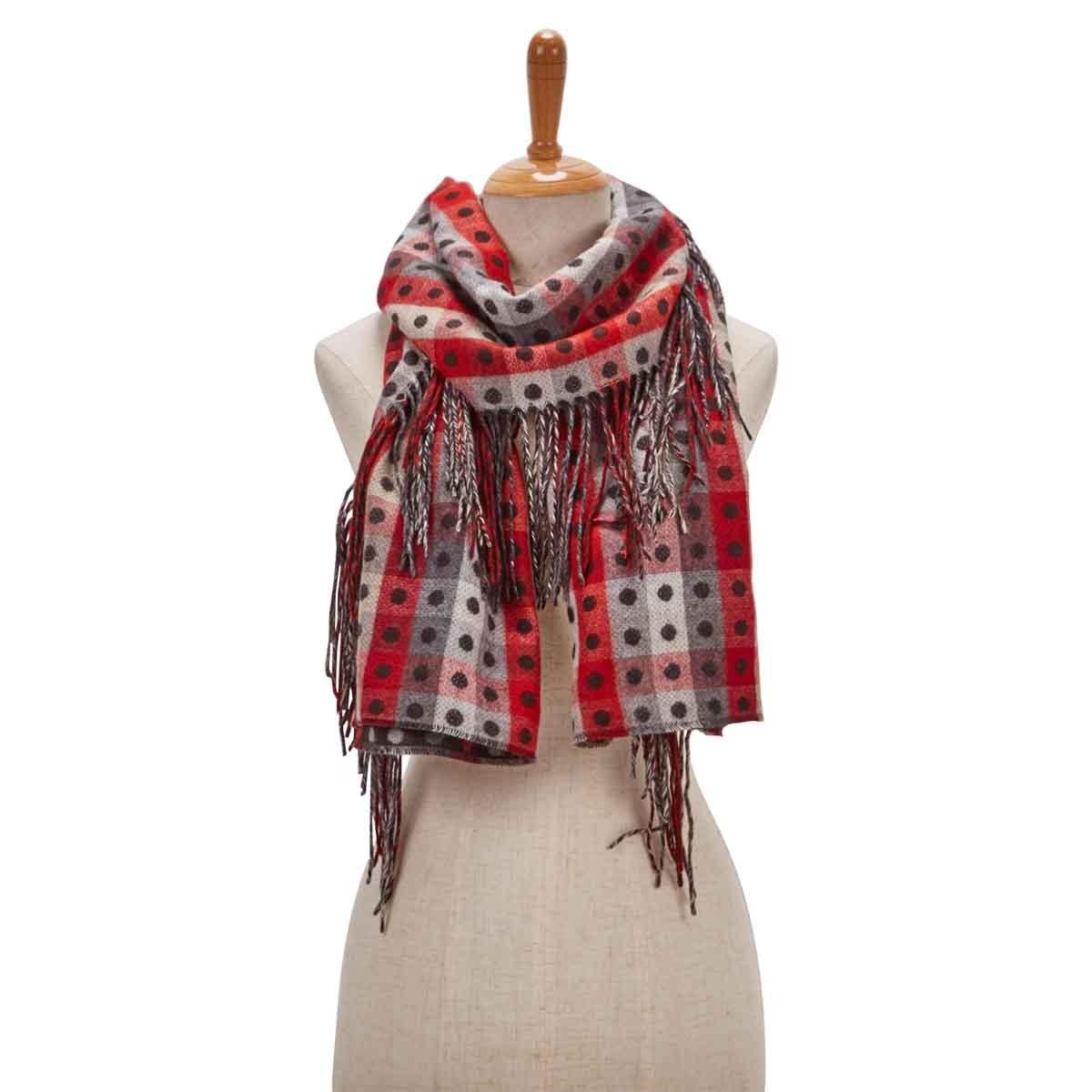 Lds SideFringeColorBlock bk/wt/rd scarf