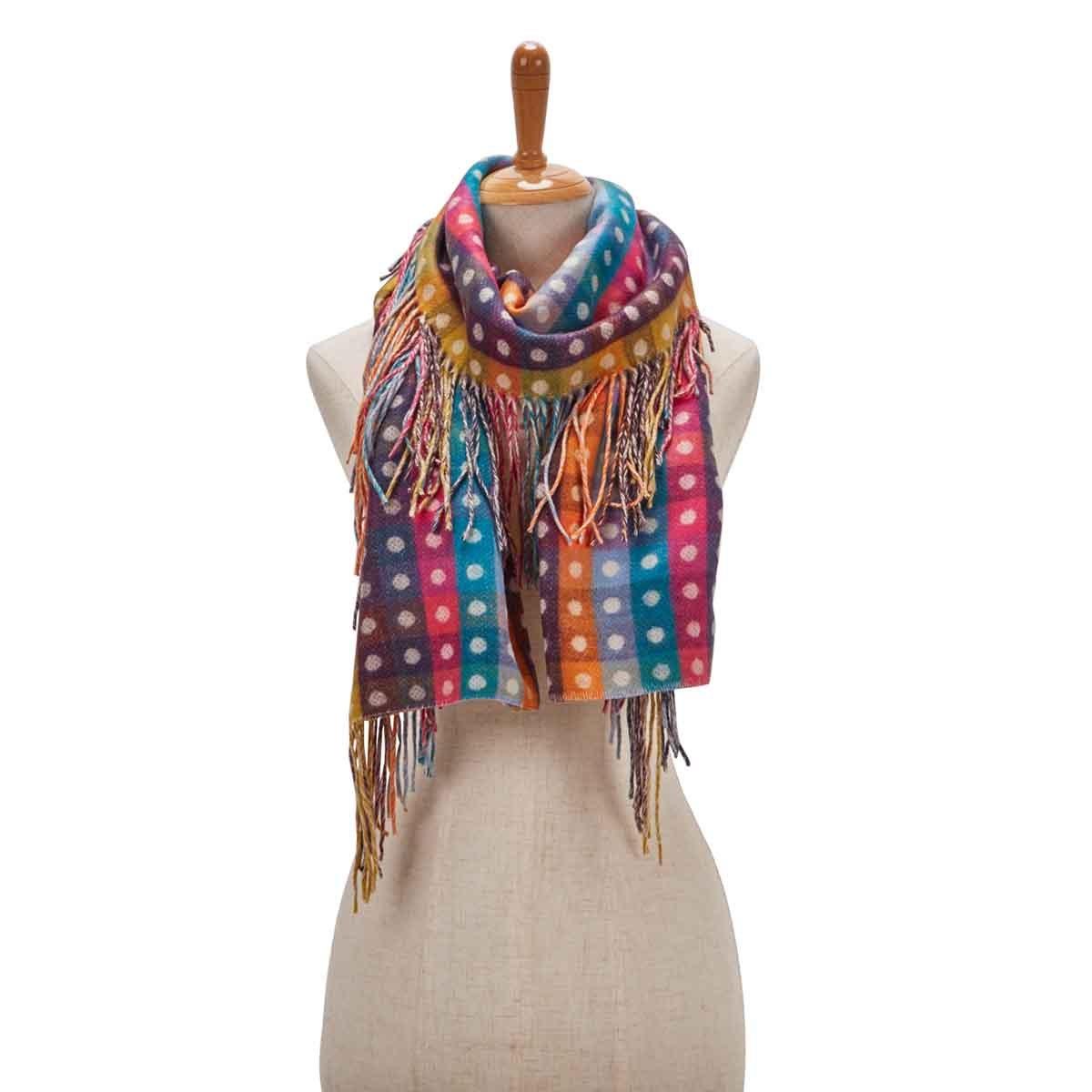 Women's SIDE FRINGE COLOR BLOCK multi scarf
