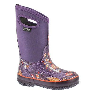 Bogs Girls' CLASSIC FORESTpurple multi waterproof boots
