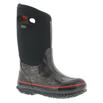 Bogs Boys' CLASSIC BONES tall black multi boots