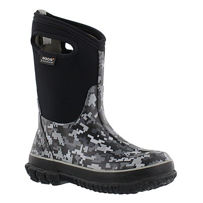 Bogs Boys' DIGITAL CAMO tall black multi boots