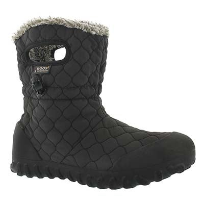 Bogs Women's B-MOC QUILTED PUFF black waterproof boots
