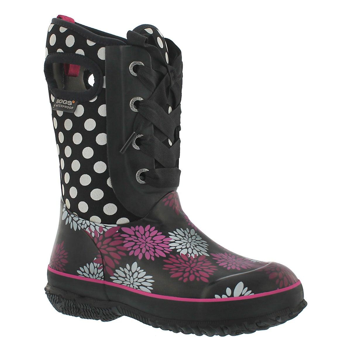 Grls Casey Pompons Dots black wtpf boot