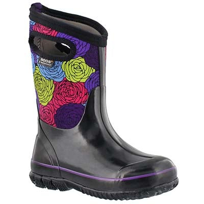 Bogs Girls' CLASSIC ROSEY black multi waterproof boots