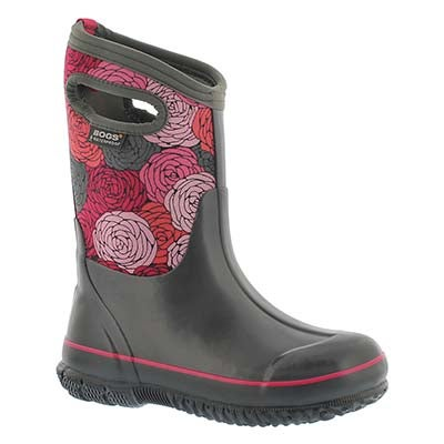 Bogs Girls' CLASSIC ROSEY grey multi waterproof boots