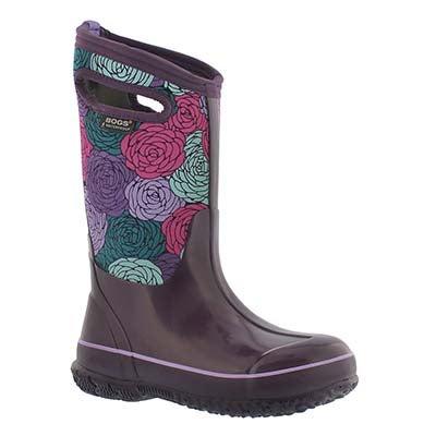 Bogs Girls' CLASSIC ROSEY  ppl multi waterproof boots