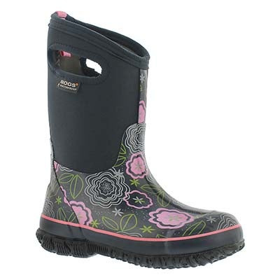 Bogs Girls' CLASSIC POSEY dk blue mlti waterpoof boots