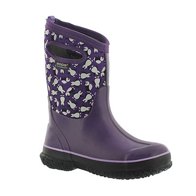 Bogs Girls' CLASSIC PENGUINS ppl multi waterproof boots
