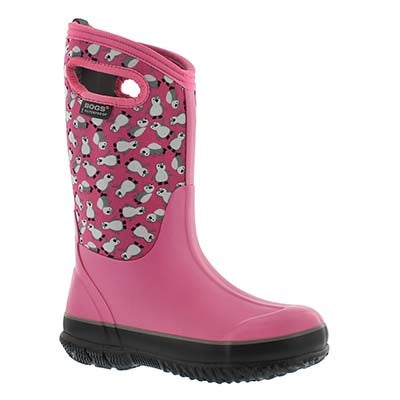 Bogs Girls' CLASSIC PENGUINS pnk mlti waterproof boots