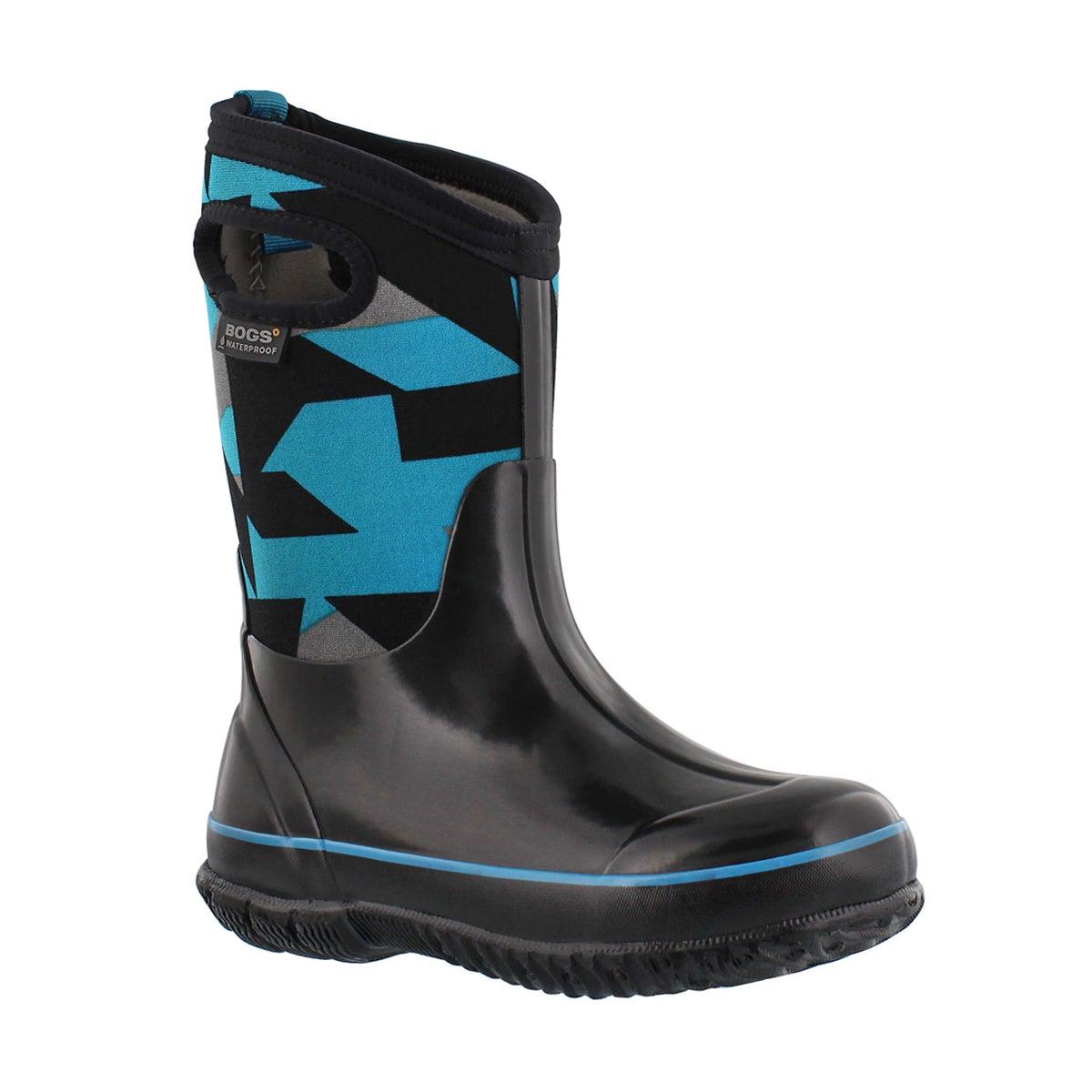 Boys' CLASSIC GEO black/blue waterproof boots