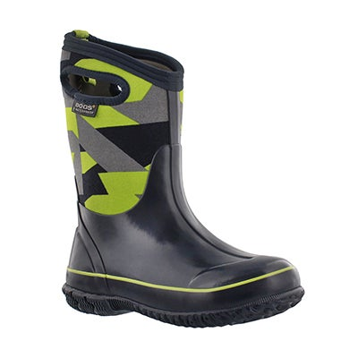 Bogs Boys' CLASSIC GEO blue/green waterproof boots