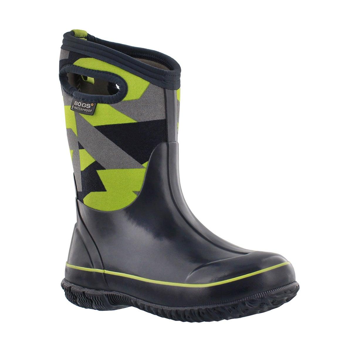 Boys' CLASSIC GEO blue/green waterproof boots