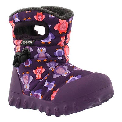 Bogs Infants' B-MOC PUFF OWLS ppl mlti waterproof boots
