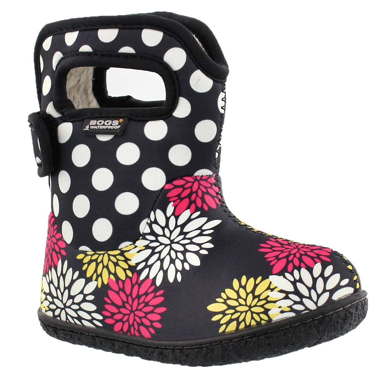Infants' CLASSIC POMPON DOTS blk waterproof boots
