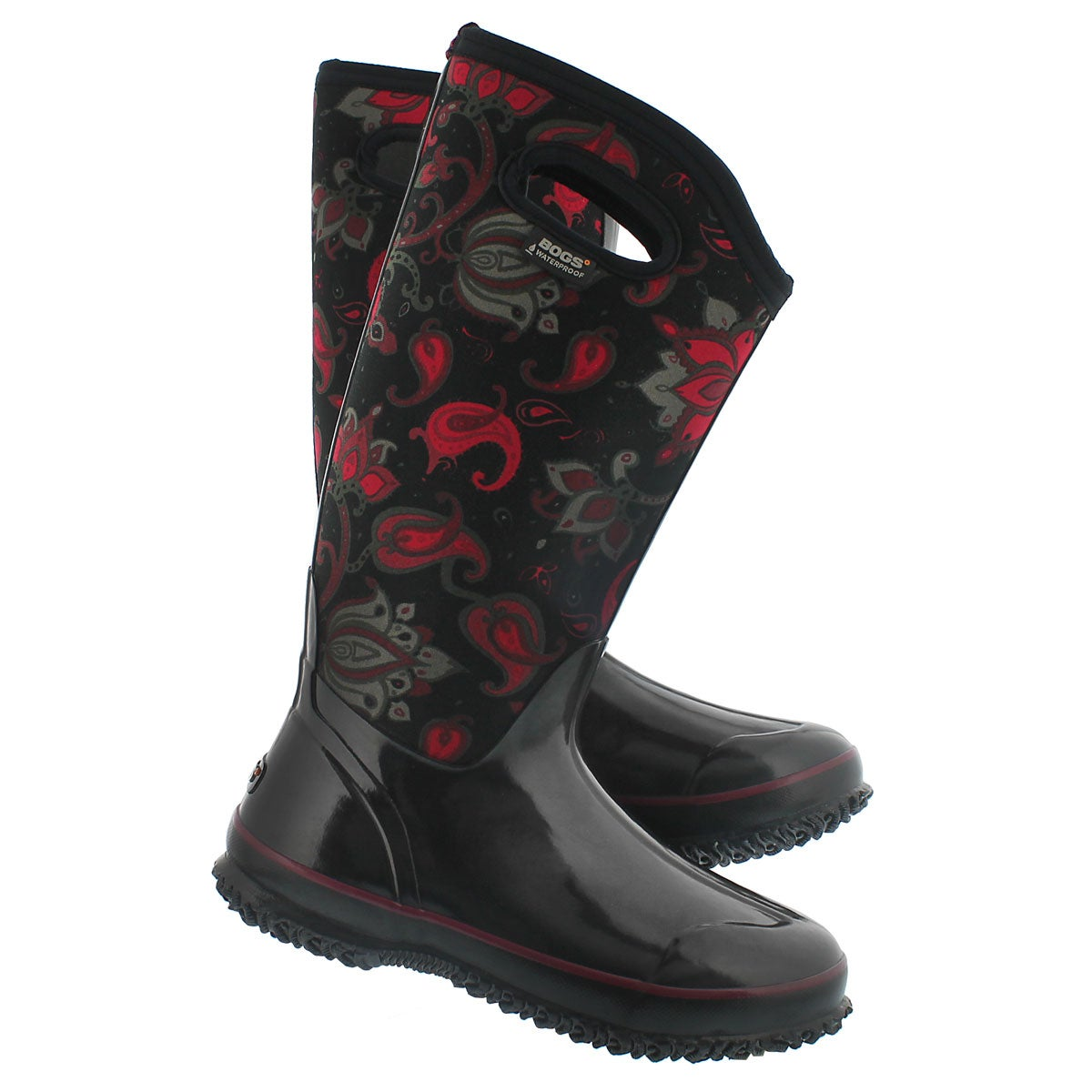 Lds ClassicPaisleyFloralTall blk wp boot
