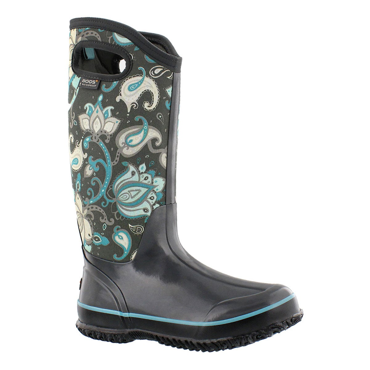 Lds ClassicPaisleyFloralTall gry wp boot