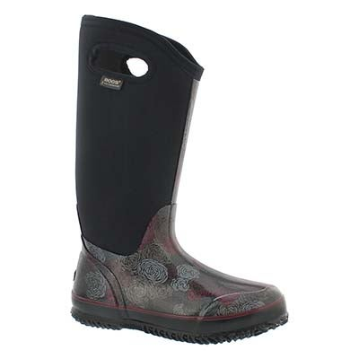 Bogs Women's CLASSIC ROSEY TALL black waterproof boots