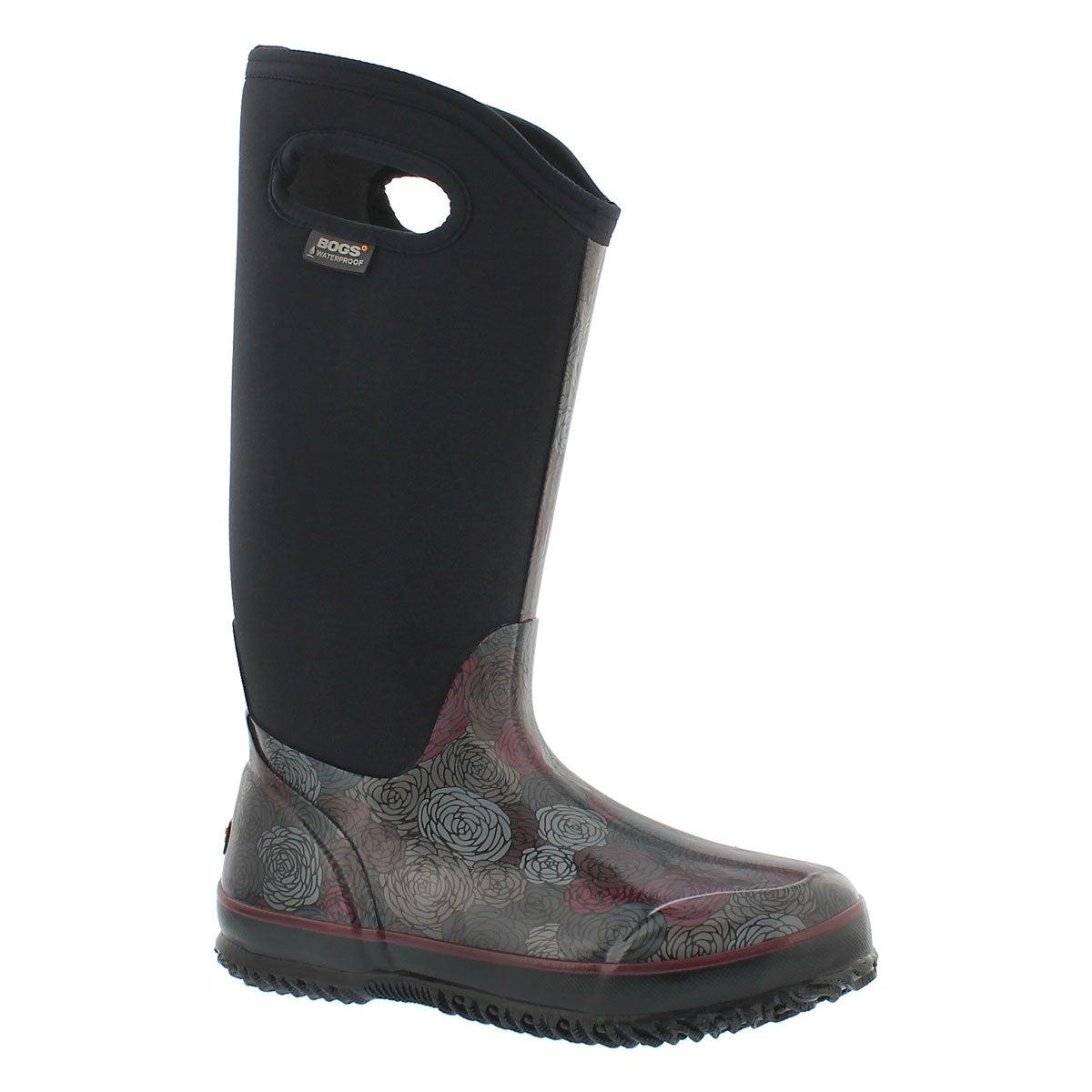 Women's CLASSIC ROSEY TALL black waterproof boots