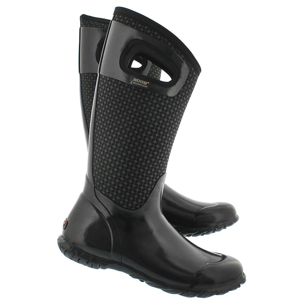 Lds NorthHamptonCravat blk wtpf boot