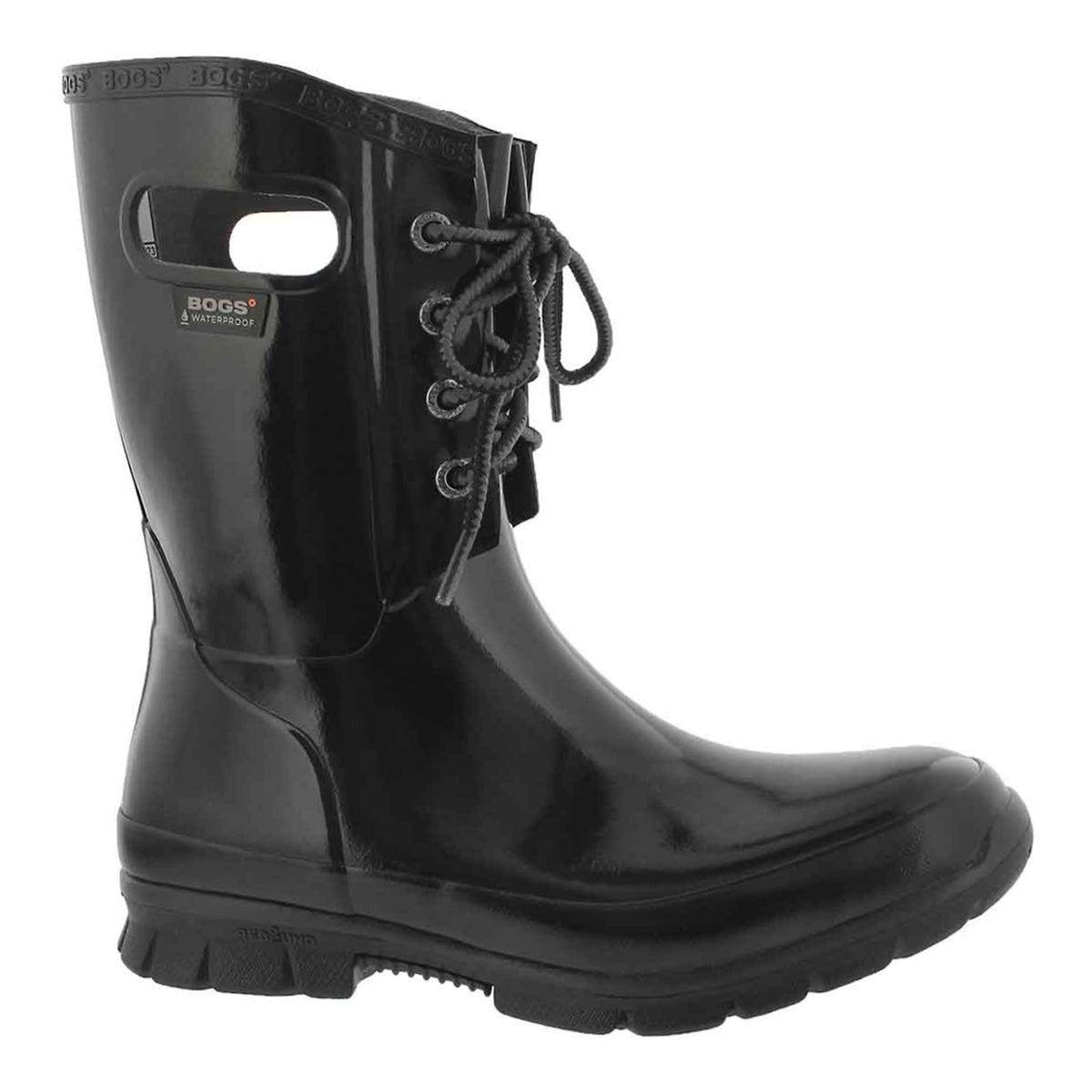 Women's AMANDA 4-EYE black waterproof rain boots