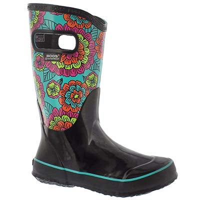Grls Pansies blk multi rain boot