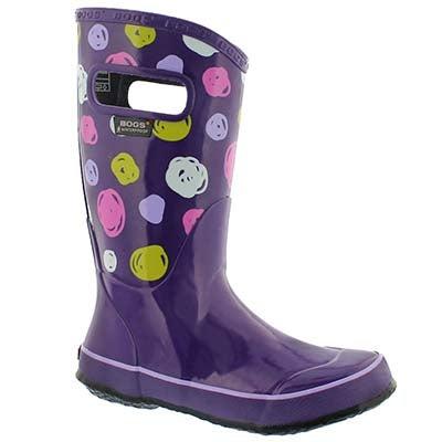 Grls Sketched Dots violet mlti rain boot