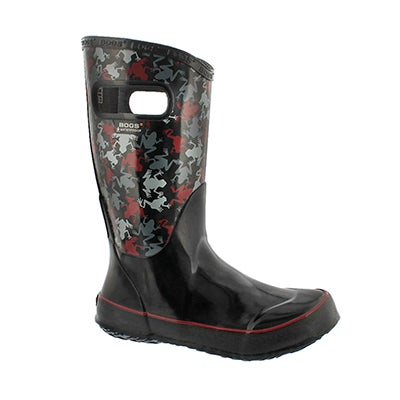 Bogs Boys' FROGS black multi rain boots