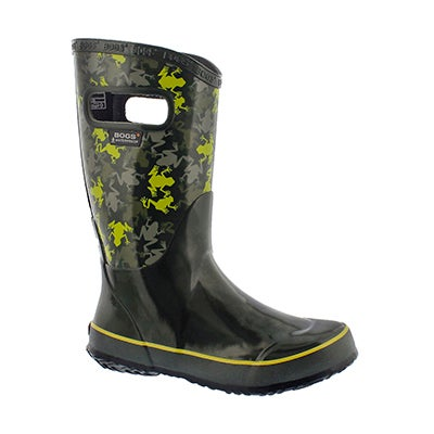 Bys Frogs moss multi rain boot