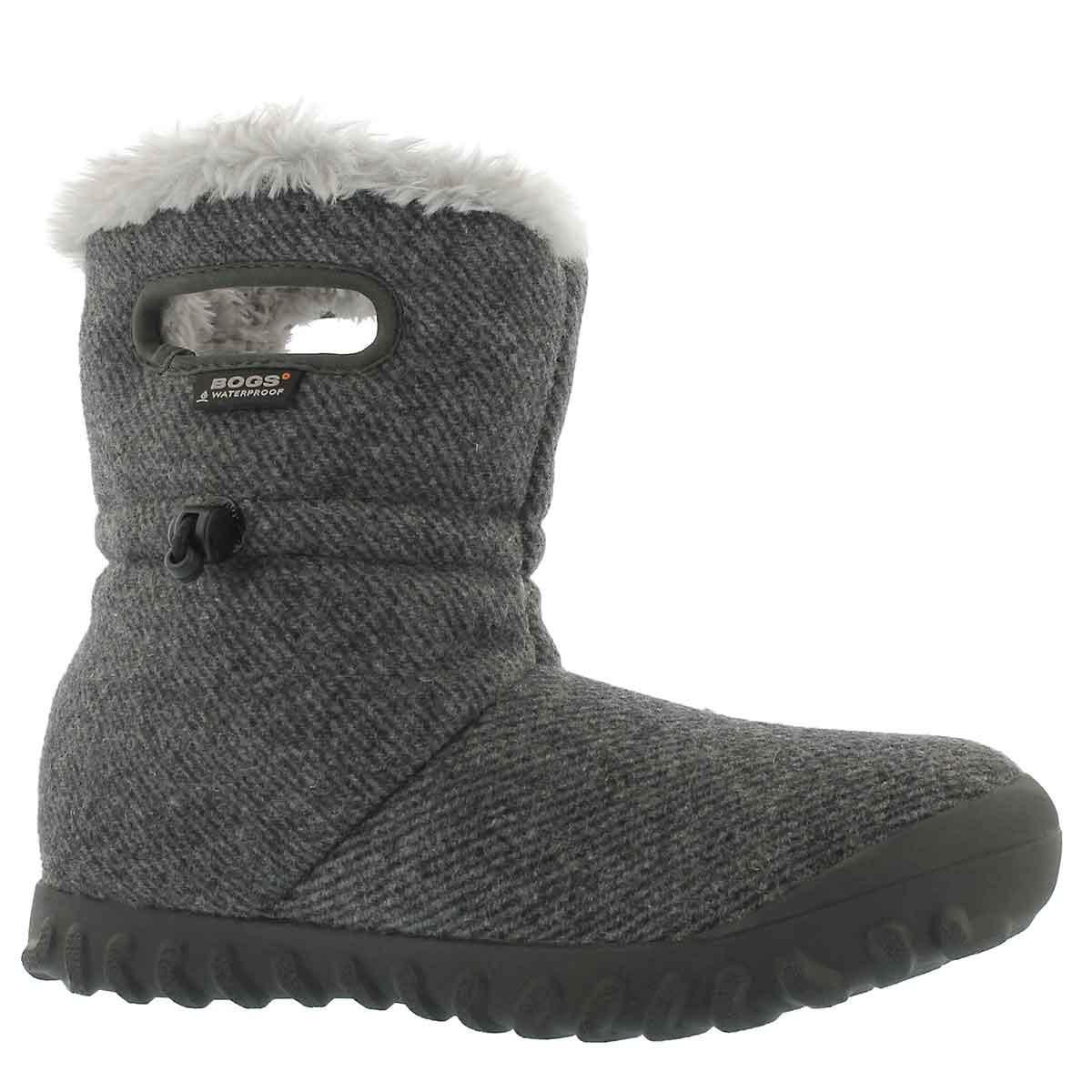 Lds B-Moc Wool charcoal wtpf boot