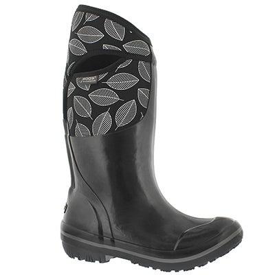Lds Plimsoll Leafy Tall blk wtpf boot