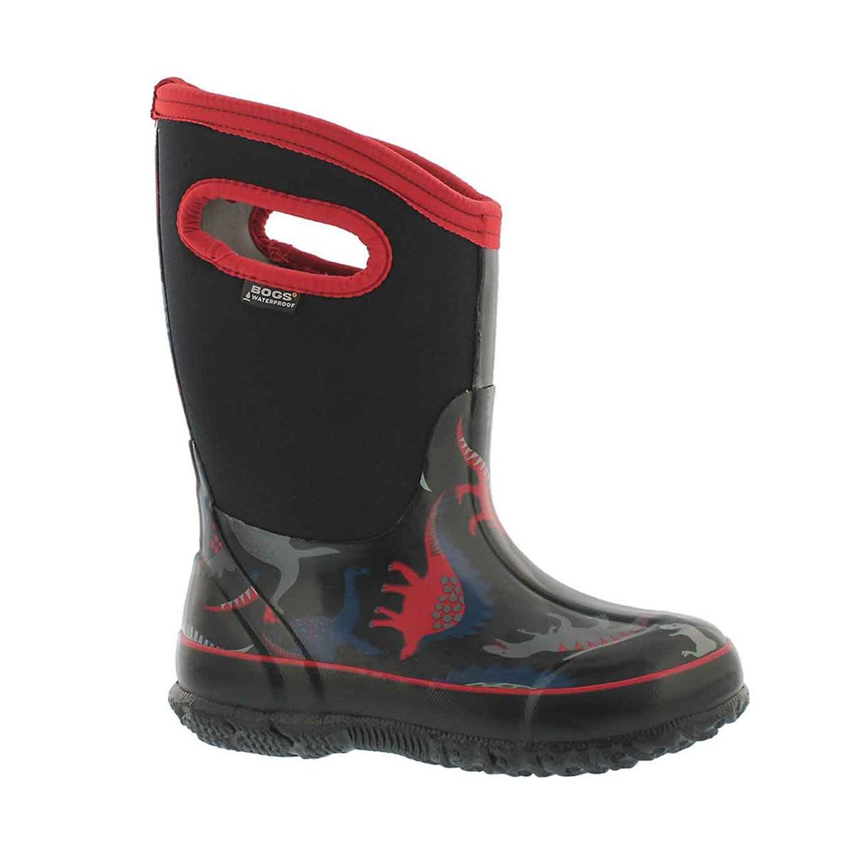 Boys' CLASSIC DINO black multi waterproof boots