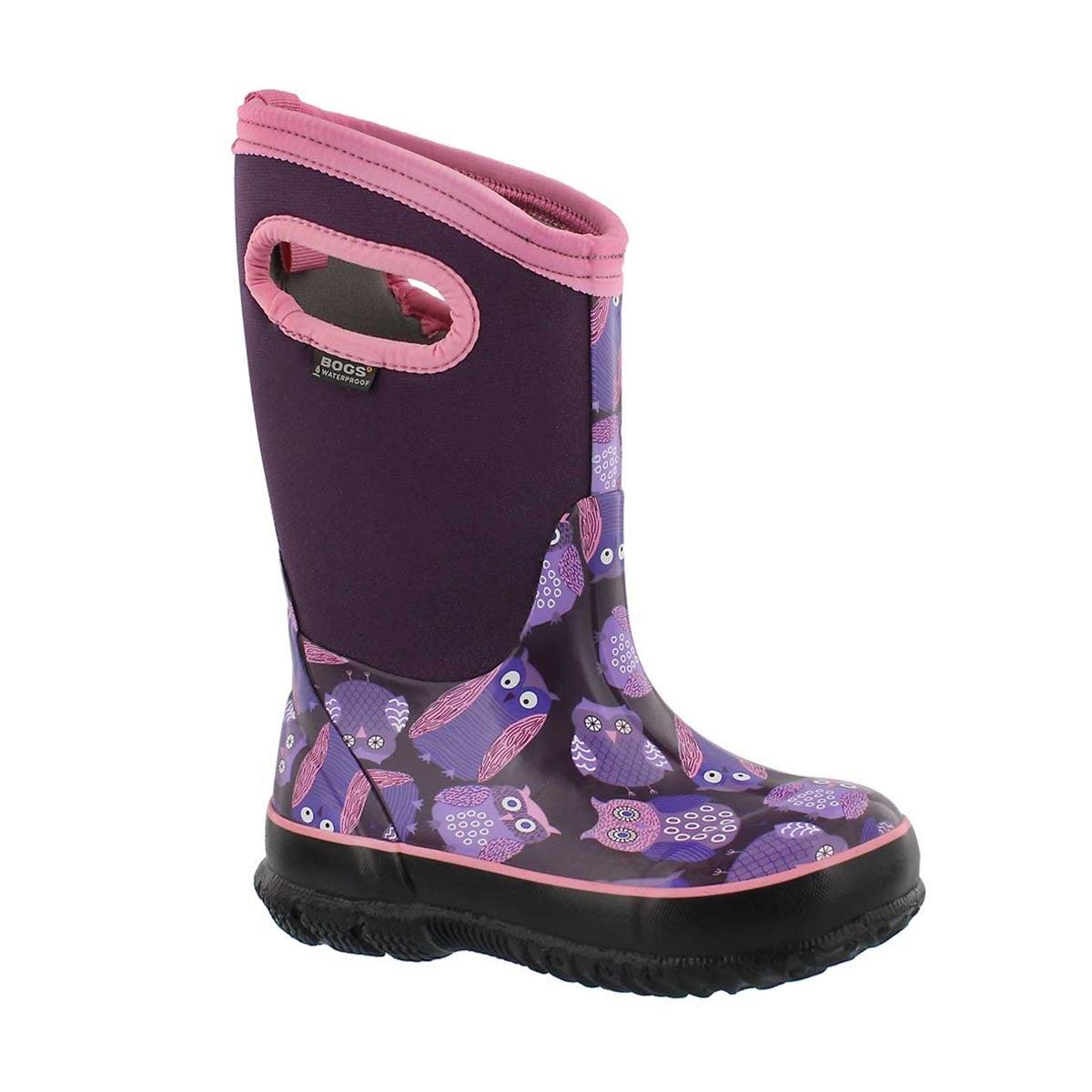 Grls Classic Owl purple mlti wtpf boot